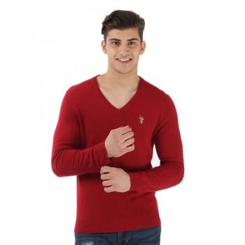 U.S. Polo Association Casual Wear Solid Men Sweater