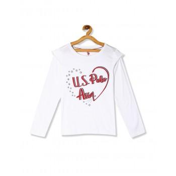 U.S. Polo Assn. Girls Printed White Top
