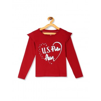 U.S. Polo Assn. Girls Printed Red Top
