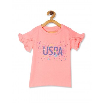 U.S. Polo Assn. Girls Printed Orange Top