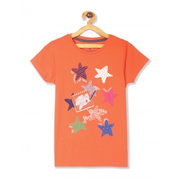 U.S. Polo Assn. Girls Printed Orange T-Shirt