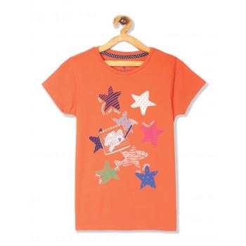 U.S. Polo Assn. Girls Casual Wear Printed T-Shirt
