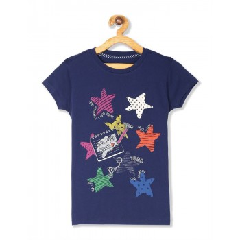 U.S. Polo Assn. Girls Printed Blue T-Shirt
