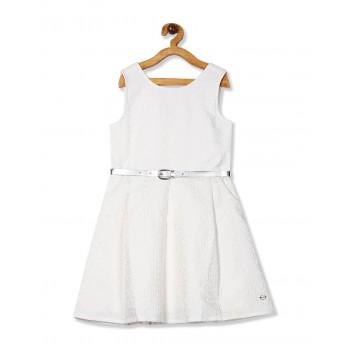 U.S. Polo Assn. Girls Self Design White Dress