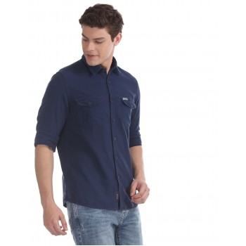 U.S. Polo Assn. Denim Co. Men Casual Wear Blue  Shirt