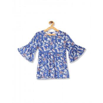 U.S. Polo Assn. Girls Printed Blue Top