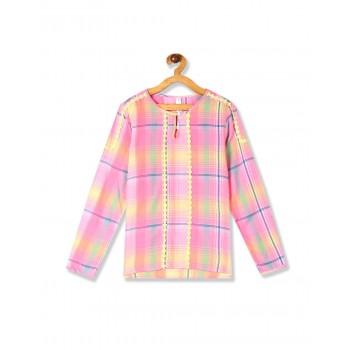 U.S. Polo Assn. Girls Casual Wear Checkered Top