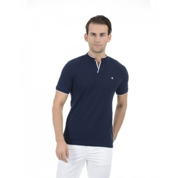 United Colors of Benetton Men Casual Wear Solid Navy Blue T-Shirt