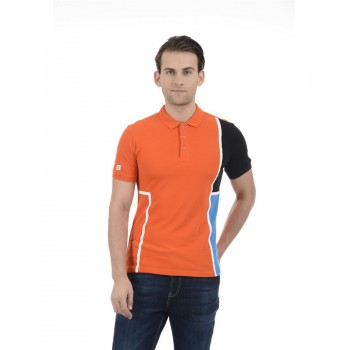 United Colors of Benetton Men Casual Wear Color Block Orange T-Shirt
