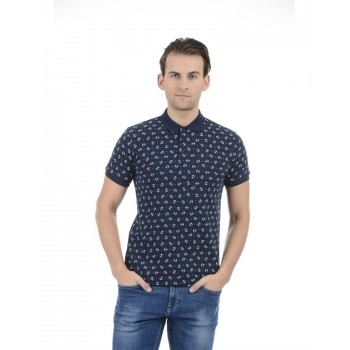 United Colors of Benetton Men Casual Wear Printed Navy Blue T-Shirt