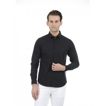 United Colors of Benetton Men Casual Wear Solid Black Shirt