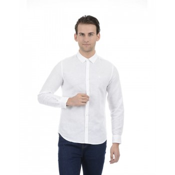 United Colors of Benetton Men Casual Wear Solid White Shirt