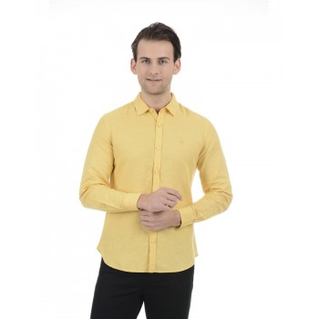 United Colors of Benetton Men Casual Wear Solid Yellow Shirt