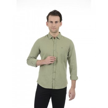 United Colors of Benetton Men Casual Wear Solid Olive Shirt