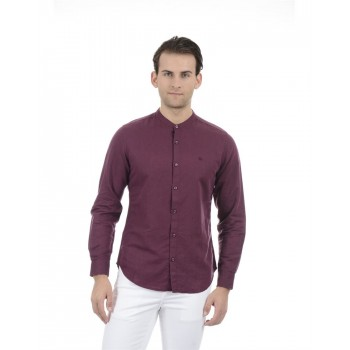 United Colors of Benetton Men Casual Wear Solid Burgundy Shirt