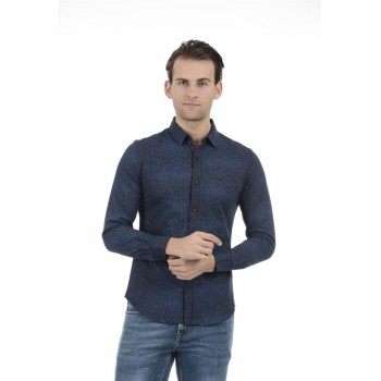 United Colors of Benetton Men Casual Wear Printed Navy Blue Shirt