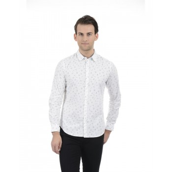 United Colors of Benetton Men Casual Wear Printed White Shirt
