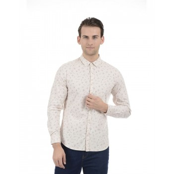 United Colors of Benetton Men Casual Wear Printed Beige Shirt