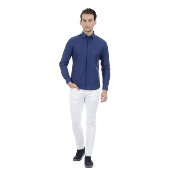 United Colors of Benetton Men Casual Wear Solid Blue Shirt