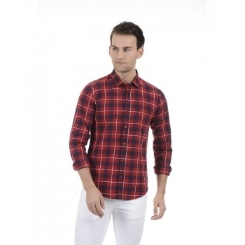 United Colors of Benetton Men Casual Wear Checkered Red Shirt