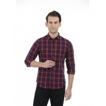 United Colors of Benetton Men Casual Wear Checkered Maroon Shirt