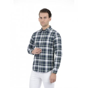 United Colors of Benetton Men Casual Wear Checkered Blue Shirt
