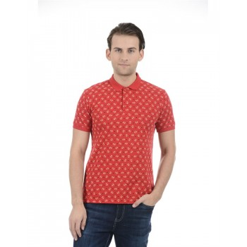 United Colors of Benetton Men Casual Wear Printed Red T-Shirt