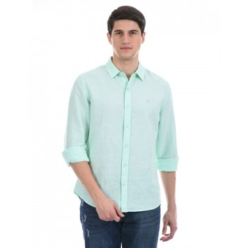 United Colors of Benetton Men Casual Wear Green Shirt