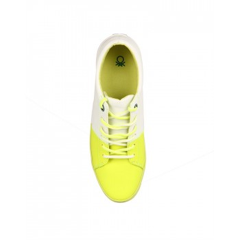 United Colors of Benetton Men Neon Yellow/ White Sneakers