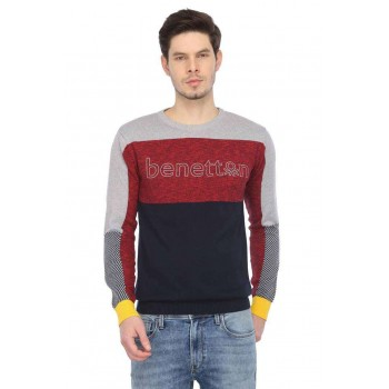United Colors of Benetton Men Casual Wear Color Block Sweater
