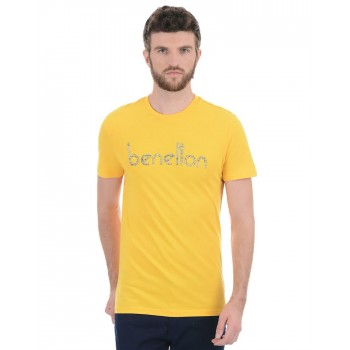Benetton Men Casual Wear Chest Print T-Shirt