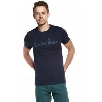 United Colors of Benetton Men Casual Wear Chest Print T-Shirt
