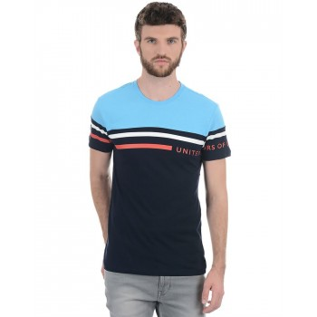 Benetton Men Casual Wear Striped T-Shirt