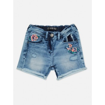 VITAMINS GIRLS Blue Embroidered Casual Shorts