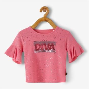 VITAMINS GIRLS Pink Self Design Casual Top