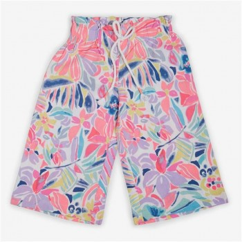 Vitamins Pink Floral Print Culottes For Girls