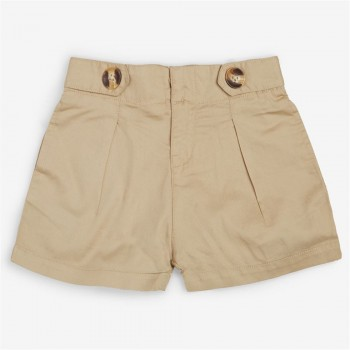 Vitamins Beige Solid Shorts For Girls