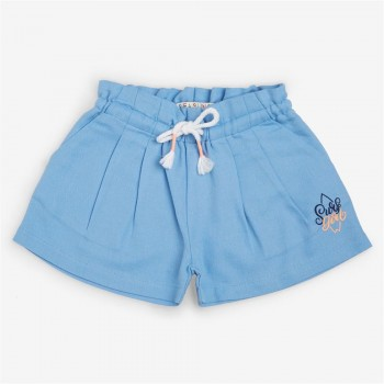 Vitamins Blue Solid Shorts For Girls