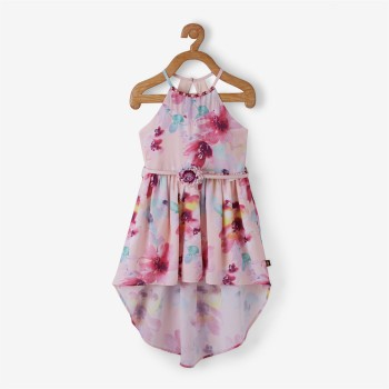 Vitamins Multicolor Floral Print Frock For Girls