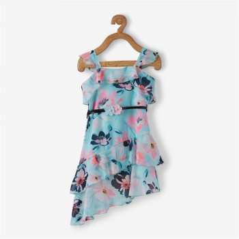 Vitamins Blue Floral Print Frock For Girls
