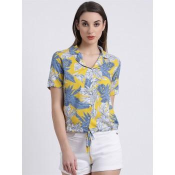 Zink London Women's Yellow Printed Shirt Style Top
