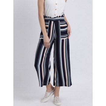 Zink London Women's Blue Striped High-Rise Parallel Trouser