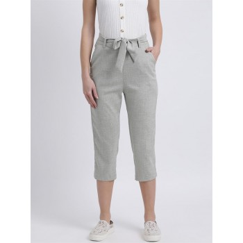 Zink London Women's Grey Self Design Mid-Rise Cropped Trouser