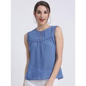 Zink London Women's Blue Self Design Regular Top