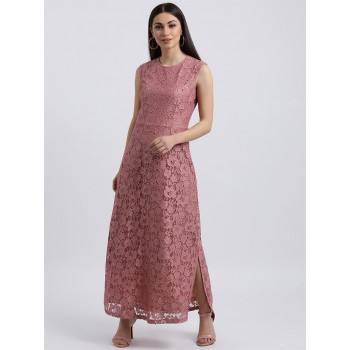 Zink London Women's Pink Self Design Maxi Dress
