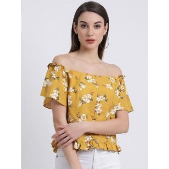 Zink London Women's Yellow Floral Print Bardot Top
