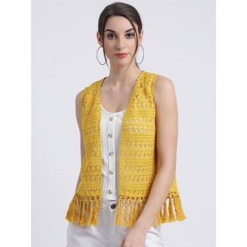 Zink London Women's Yellow Self Design Front Open Shrug