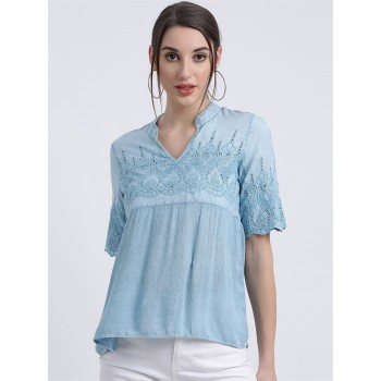 Zink London Women's Blue Embroidered Blouson Top