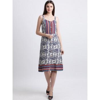 Zink London Women's Off White Paisley Printed Sheath Dress