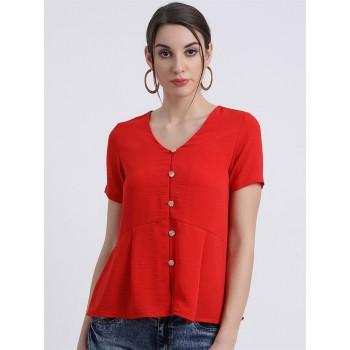 Zink London Women's Red Solid Regular Top